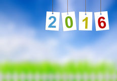 Año Nuevo 2016 en etiquetas en la naturaleza Fotografía de archivo