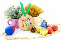 Año Nuevo 2016 en etiquetas y la Navidad Foto de archivo libre de regalías