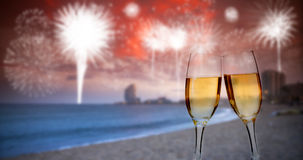 Año Nuevo en la ciudad, en la playa Imagen de archivo libre de regalías