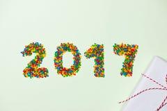 Año Nuevo 2017 en la forma del caramelo El número del año le gusta el candie del día de fiesta Imágenes de archivo libres de regalías