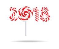 Año Nuevo 2018 en la forma del palillo del caramelo en blanco Imagenes de archivo