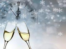 Año Nuevo en la medianoche - viejas luces del reloj y del día de fiesta Foto de archivo libre de regalías