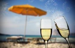 Año Nuevo en la playa Foto de archivo