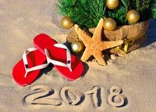 Año Nuevo 2018 en la playa Foto de archivo libre de regalías