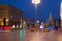 Año Nuevo en las calles de Moscú Imagenes de archivo