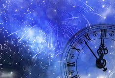 Año Nuevo en las luces de la medianoche y del día de fiesta Fotos de archivo libres de regalías
