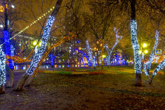 Año Nuevo en Moscú Iluminaciones festivas en el centro de ciudad Foto de archivo libre de regalías