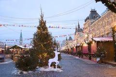 Año Nuevo en Plaza Roja en Moscú Fotografía de archivo libre de regalías