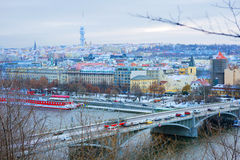 Año Nuevo en Praga La visión desde la altura Imagen de archivo libre de regalías