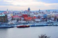 Año Nuevo en Praga La visión desde la altura Fotos de archivo