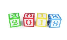 Año Nuevo en un ejemplo blanco del fondo 3D, de la caja 2018 del alfabeto representación 3D Imagen de archivo