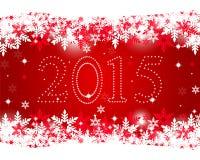 Año Nuevo 2015 en un fondo rojo Foto de archivo libre de regalías