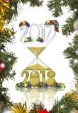 Año Nuevo en un reloj de arena Fotografía de archivo