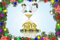 Año Nuevo en un reloj de arena Foto de archivo libre de regalías