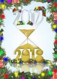 Año Nuevo en un reloj de arena Imágenes de archivo libres de regalías