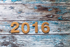 Año Nuevo, 2016, figuras hechas de la cartulina Fotografía de archivo