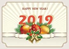 Año Nuevo 2019 Fondo con la fecha de 2019 con las bolas en el fondo de los rayos ilustración del vector