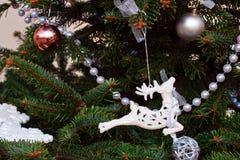 Año Nuevo, fondo de la Navidad con el árbol de navidad, reno blanco Imagen de archivo libre de regalías