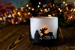 Año Nuevo, fondo de la Navidad con la vela de la Navidad Fotos de archivo libres de regalías