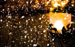Año Nuevo, fondo de la Navidad con la vela de la Navidad Fotografía de archivo