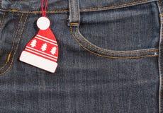 Año Nuevo, fondo de la Navidad Textura de los pantalones vaqueros Fotos de archivo libres de regalías