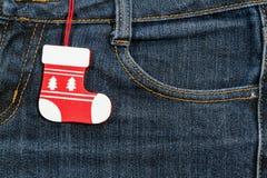 Año Nuevo, fondo de la Navidad Textura de los pantalones vaqueros Foto de archivo libre de regalías