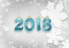 Año Nuevo 2018, fondo de la Navidad y copos de nieve con el espacio Fotos de archivo libres de regalías