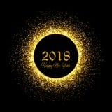 Año Nuevo 2018 Fondo del brillo del oro Ilustración del vector Fotos de archivo libres de regalías