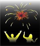 Año Nuevo - fuegos artificiales stock de ilustración