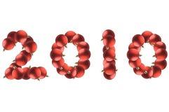 Año Nuevo hecho por las bolas rojas de la Navidad. Imagenes de archivo