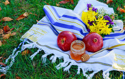 Año Nuevo judío Manzanas de Rosh Hashana, día de fiesta de las granadas de la miel Imagen de archivo libre de regalías