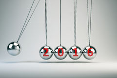 Año Nuevo 2016 - la cuna de Newton de equilibrio de las bolas Imagen de archivo