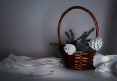 Año Nuevo, la Navidad cesta con las ramas y los conos del abeto en una tabla en el crepúsculo Imagenes de archivo
