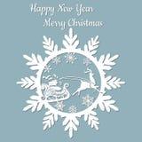 Año Nuevo, la Navidad, ciervo, Santa Claus, copo de nieve Para el corte del laser, impresión del trazador y de la serigrafía stock de ilustración