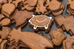 Año Nuevo lindo guarro para la buena suerte del pan de jengibre de la Navidad Fotografía de archivo
