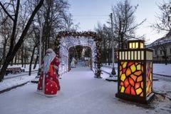 Año Nuevo Moscú, bulevar de Tverskoy Foto de archivo libre de regalías