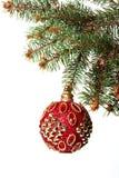 Año Nuevo Navidad Juguete rojo redondo hermoso de la Navidad que cuelga o Fotos de archivo