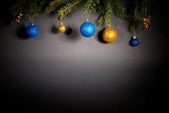 Año Nuevo Navidad Juguetes, ramas de árbol de navidad, conos, con Imagen de archivo