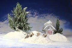 Año Nuevo 2017, nieves acumulada por la ventisca del bosque del invierno y en figuras Imagenes de archivo