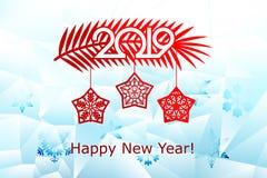 Año Nuevo, plantillas de corte del laser de la Navidad Decoraciones del día de fiesta en 2019 en una rama helada del fondo de un  ilustración del vector