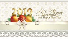 Año Nuevo 2019 Postal con la decoración de la Navidad stock de ilustración