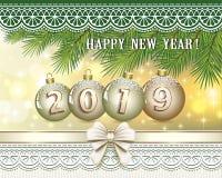 Año Nuevo 2019 Postal con una fecha en bolas de oro libre illustration