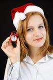 Año Nuevo que espera de la muchacha hermosa para Fotos de archivo