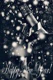 Año Nuevo ` S Eve, champán del Año Nuevo en un cubo de hielo Imágenes de archivo libres de regalías