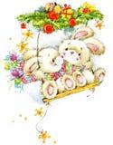 Año Nuevo Santa Bunny enhorabuena del fondo Fotos de archivo libres de regalías