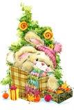 Año Nuevo Santa Bunny enhorabuena del fondo Imagen de archivo libre de regalías