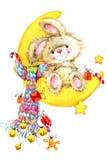 Año Nuevo Santa Bunny enhorabuena del fondo Fotografía de archivo