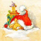 Año Nuevo Santa Bunny enhorabuena del fondo Seri de la Navidad Imagenes de archivo
