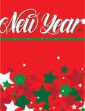 Año Nuevo stars1 rojo ilustración del vector