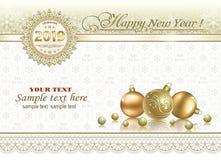 Año Nuevo 2019 Tarjeta de felicitación con la decoración de la Navidad ilustración del vector